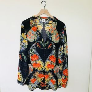 Cabi Amour Floral Heart Sheer Blouse XL